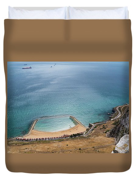 Gibraltar Rock View To The Beach Duvet Cover