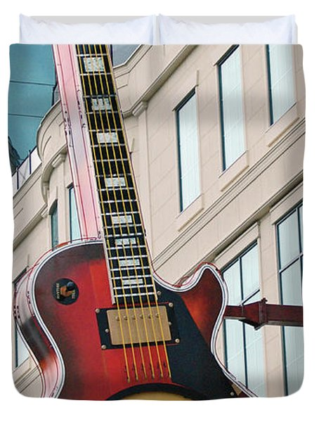 Gibson Les Paul Of The Hard Rock Cafe Duvet Cover by DigiArt Diaries by Vicky B Fuller