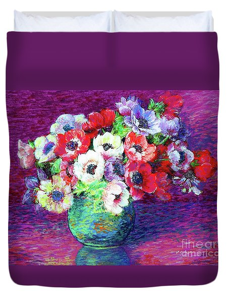 Gift Of Anemones Duvet Cover by Jane Small