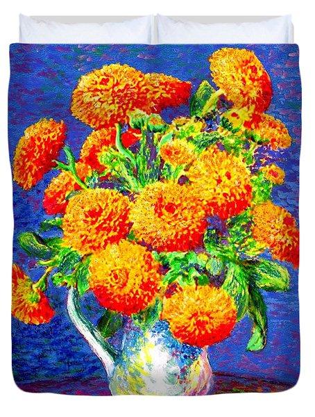 Gift Of Gold, Orange Flowers Duvet Cover