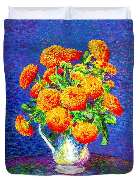Duvet Cover featuring the painting Gift Of Gold, Orange Flowers by Jane Small