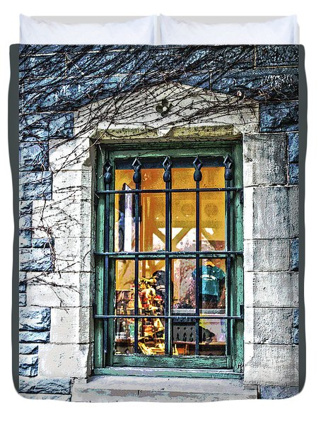 Duvet Cover featuring the photograph Gift Shop Window by Sandy Moulder