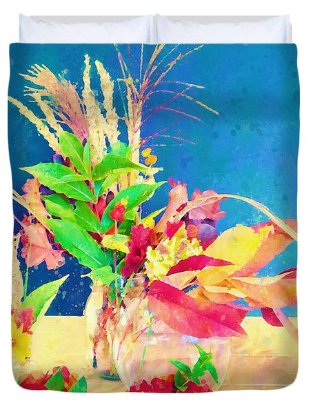 Duvet Cover featuring the digital art Gifts From The Yard Watercolor by Christina Lihani
