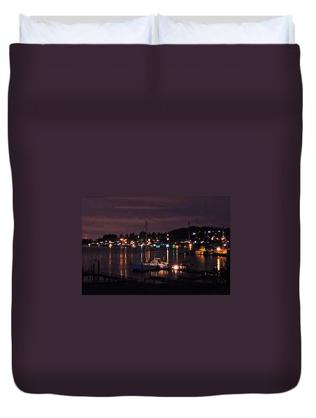 Duvet Cover featuring the photograph Gig Harbor At Night by Jack Moskovita