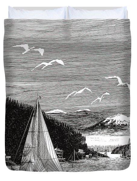 Gig Harbor Sailing School Duvet Cover by Jack Pumphrey