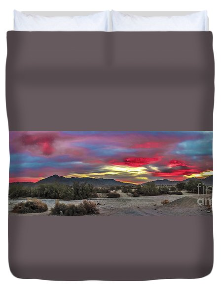 Gila Mountains And Sonoran Desert Sunrise Duvet Cover by Robert Bales