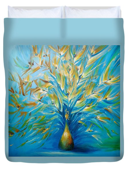 Duvet Cover featuring the painting Gilded Peacock by Dina Dargo