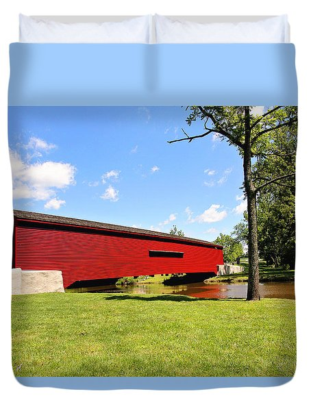 Gilpin's Falls Covered Bridge Duvet Cover by Trina  Ansel