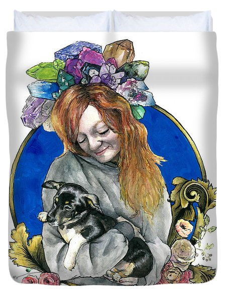 Ginger And Her Lovelies Duvet Cover by Arleana Holtzmann