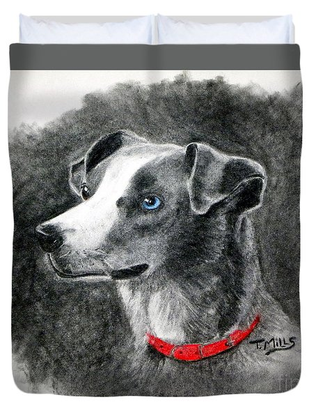 Duvet Cover featuring the drawing Ginger In Charcoal by Terri Mills