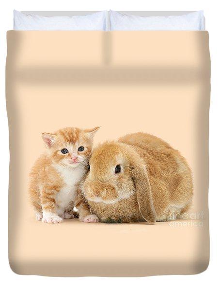 Ginger Kitten And Sandy Bunny Duvet Cover
