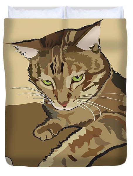 Ginger Peach Bengal Kitty Duvet Cover