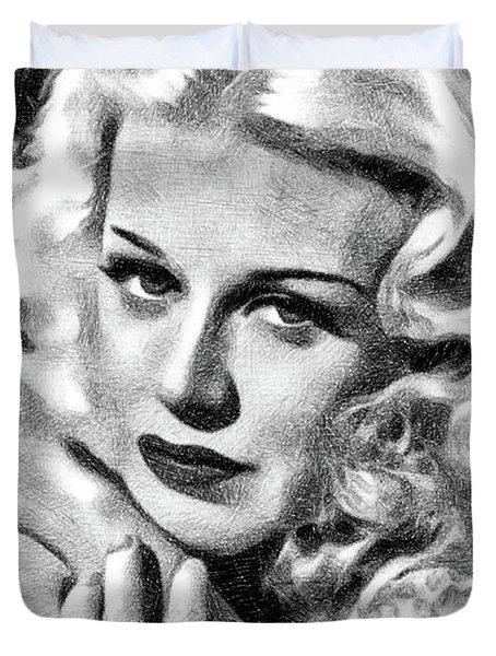 Ginger Rogers, Vintage Actress And Dancer By Js Duvet Cover
