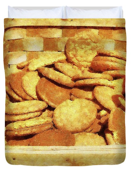Ginger Snap Cookies In Basket Duvet Cover by Susan Savad