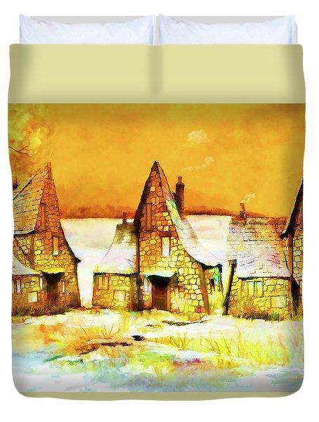 Gingerbread Cottages Duvet Cover