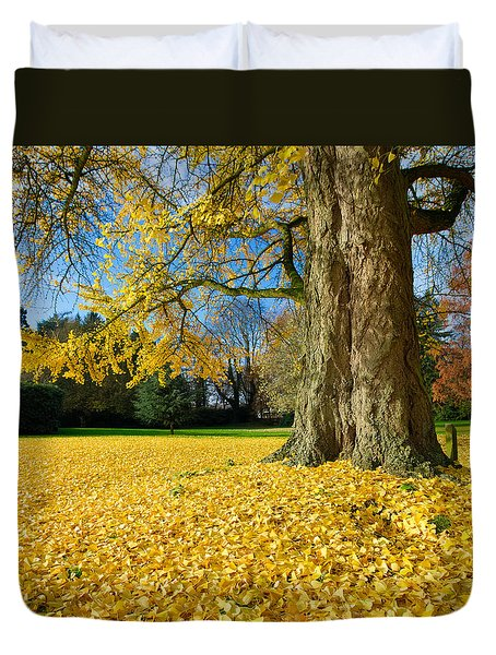 Duvet Cover featuring the photograph Ginkgo Tree by Hans Engbers