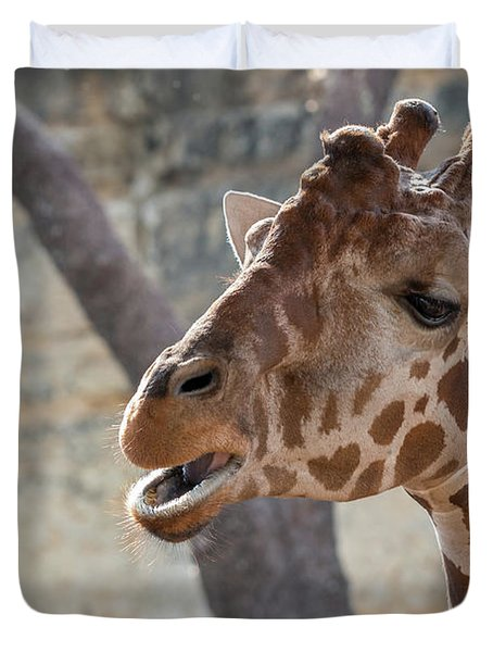 Girafe Head About To Grab Food Duvet Cover