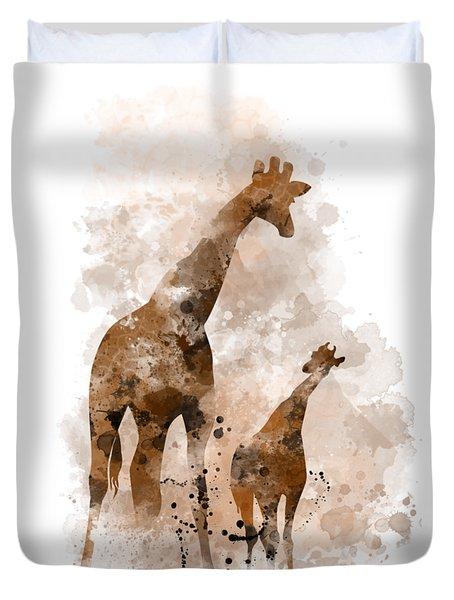 Giraffe And Baby Duvet Cover