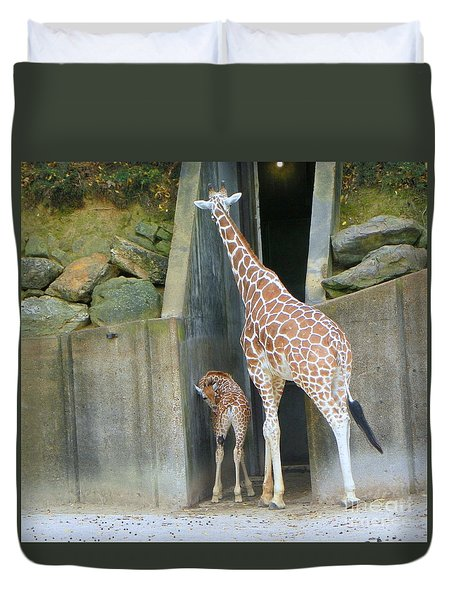 Giraffe And Baby Duvet Cover