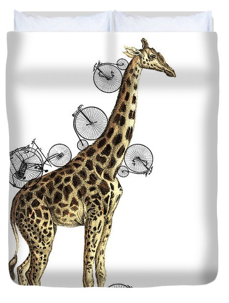 Giraffe And Bicycles Duvet Cover