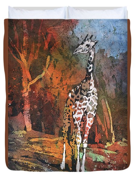 Duvet Cover featuring the painting Giraffe Batik II by Ryan Fox