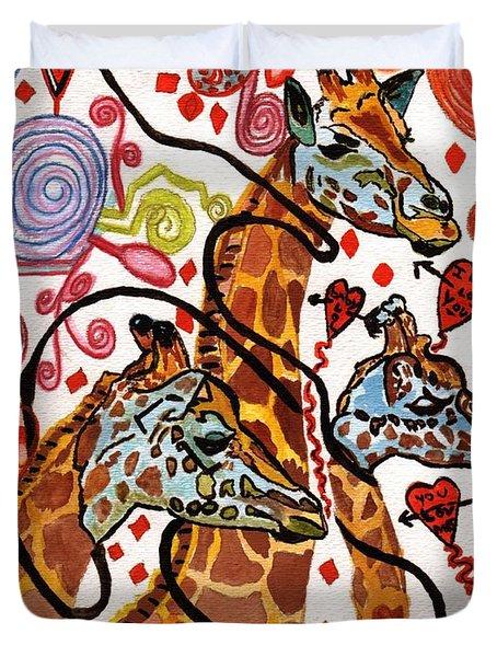 Giraffe Birthday Party Duvet Cover by Connie Valasco