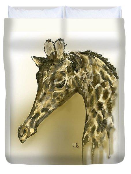 Giraffe Contemplation Duvet Cover