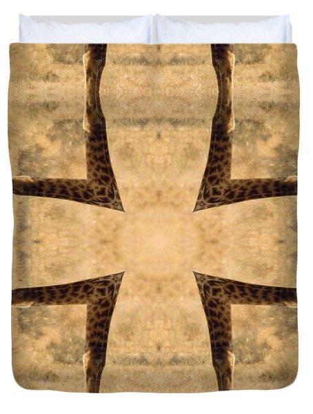 Giraffe Cross Duvet Cover by Maria Watt