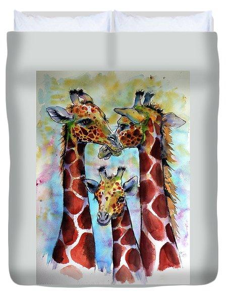 Duvet Cover featuring the painting Giraffe Family by Kovacs Anna Brigitta