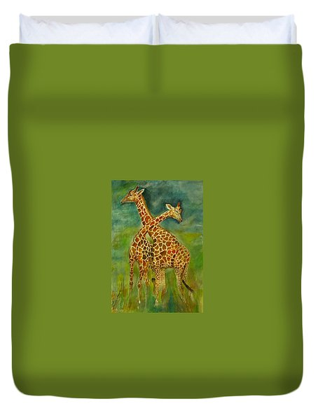 Lovely Giraffe . Duvet Cover by Khalid Saeed