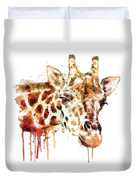 Giraffe Head Duvet Cover by Marian Voicu