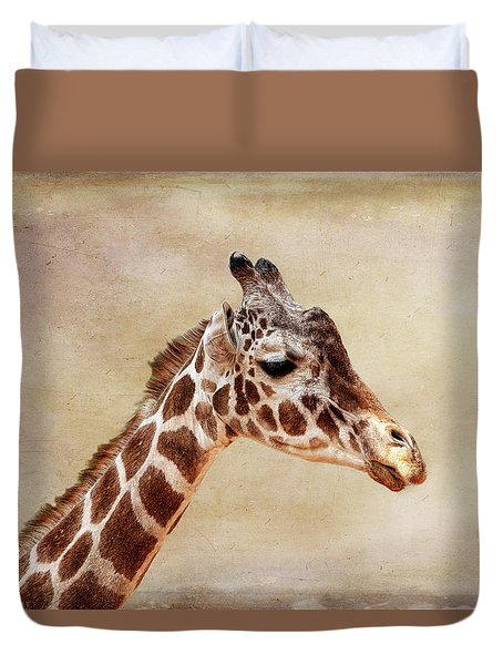 Duvet Cover featuring the photograph Giraffe Horizontal by Judy Vincent