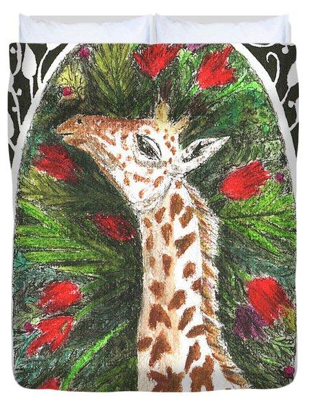 Giraffe In Archway Duvet Cover