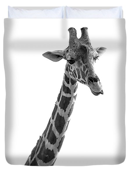 Giraffe In Black And White 3 Duvet Cover