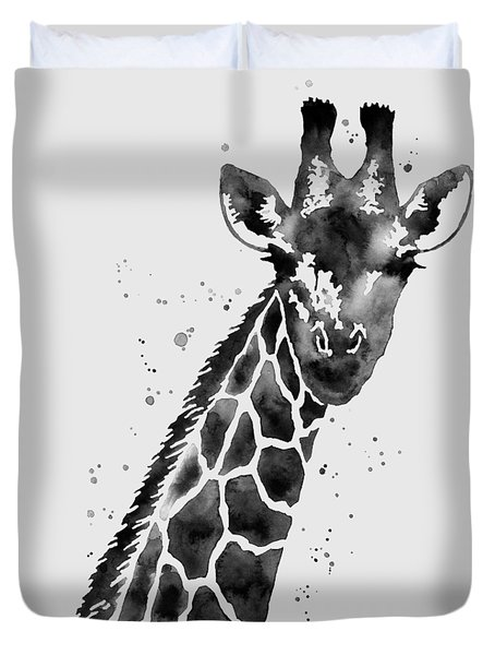 Giraffe In Black And White Duvet Cover by Hailey E Herrera
