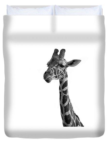 Giraffe In Black And White Duvet Cover