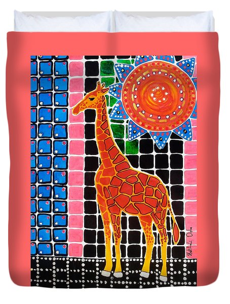 Duvet Cover featuring the painting Giraffe In The Bathroom - Art By Dora Hathazi Mendes by Dora Hathazi Mendes