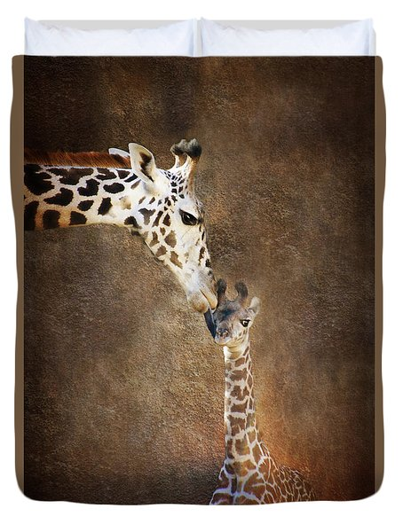 Giraffe Kiss Duvet Cover