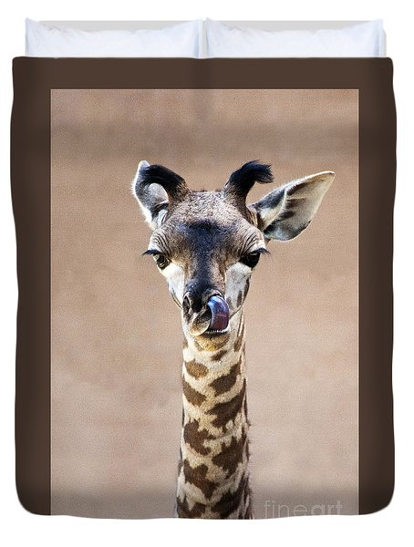Giraffe Lick Duvet Cover by Lula Adams