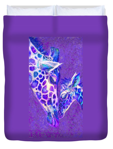 Duvet Cover featuring the digital art Giraffe Love 515 by Jane Schnetlage