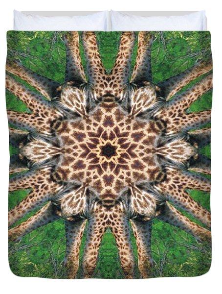 Giraffe Mandala II Duvet Cover by Maria Watt