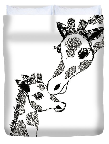 Giraffe Mom And Baby Duvet Cover