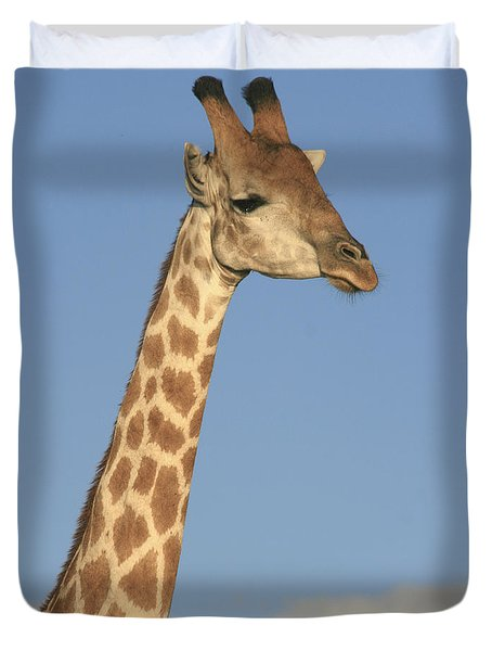 Duvet Cover featuring the photograph Giraffe Portrait by Karen Zuk Rosenblatt