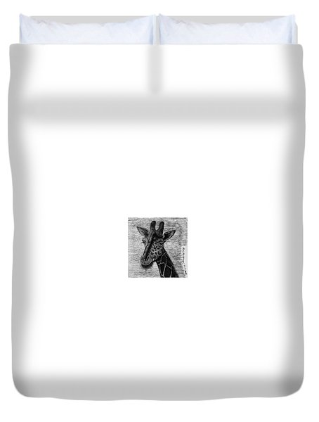 Duvet Cover featuring the drawing Giraffe  by Richie Montgomery