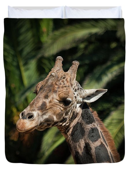 Duvet Cover featuring the photograph Giraffe  by Roger Mullenhour