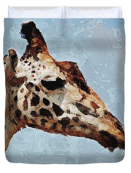 Duvet Cover featuring the digital art Giraffe Safari  by PixBreak Art