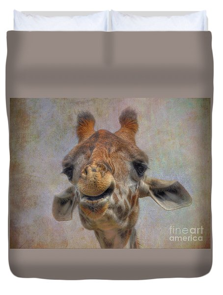 Duvet Cover featuring the photograph Giraffe by Savannah Gibbs