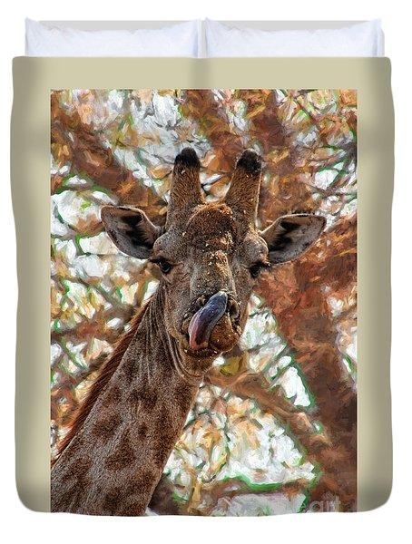 Giraffe Says Yum Duvet Cover