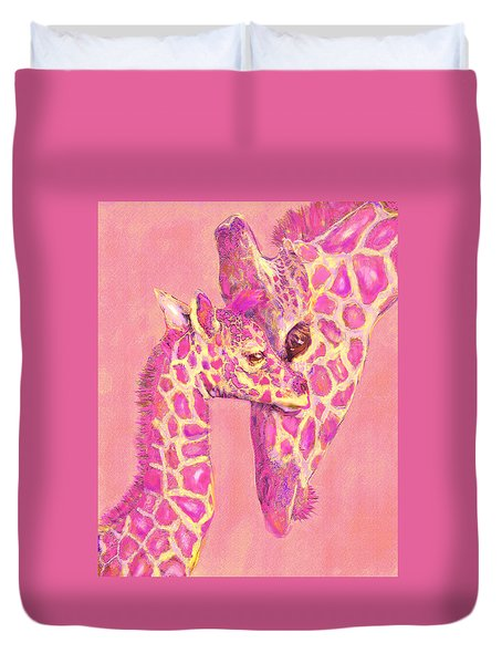 Duvet Cover featuring the digital art Giraffe Shades- Pink by Jane Schnetlage