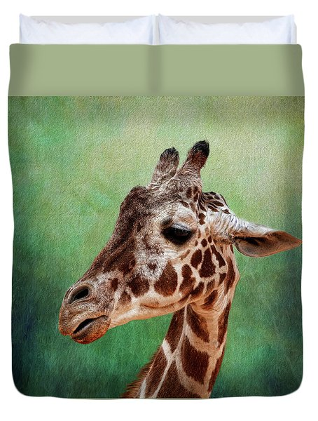 Giraffe Square Duvet Cover by Judy Vincent